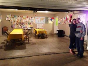 Us and our get-well card-covered garage.